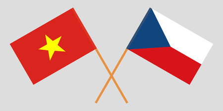 Crossed  flags of Czech Republic and Vietnam. Official colors. Correct proportion. Vector illustration