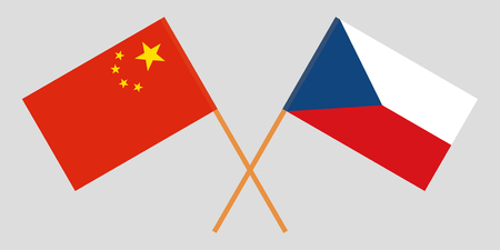 Crossed  flags of Czech Republic and China. Official colors. Correct proportion. Vector illustration