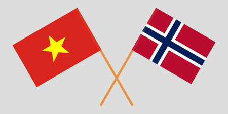 Norway and Vietnam. The Norwegian and Vietnamese flags. Official proportion. Correct colors. Vector illustration Illustration