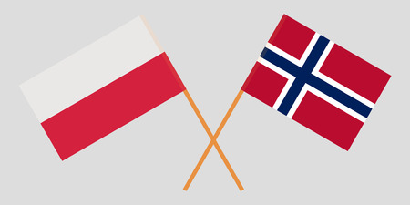 Norway and Poland. The Norwegian and Polish flags. Official proportion. Correct colors. Vector illustration