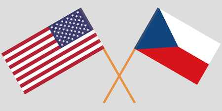 Crossed  flags of Czech Republic and USA. Official colors. Correct proportion. Vector illustration