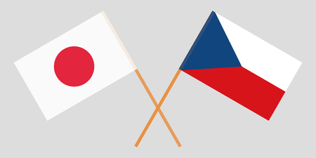 Crossed  flags of Czech Republic and Japan. Official colors. Correct proportion. Vector illustration