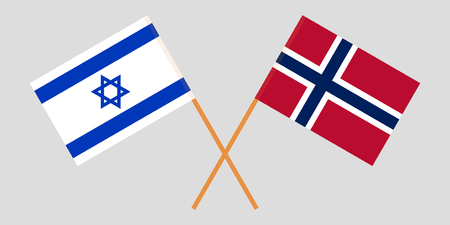Norway and Israel. The Norwegian and Israeli flags. Official proportion. Correct colors. Vector illustration