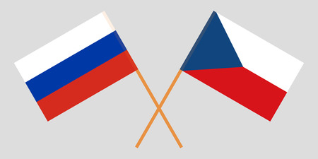 Crossed  flags of Czech Republic and Russia. Official colors. Correct proportion. Vector illustration