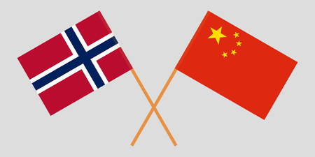 Norway and China. The Norwegian and Chinese flags. Official proportion. Correct colors. Vector illustration