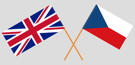 Crossed  flags of Czech Republic and UK. Official colors. Correct proportion. Vector illustration