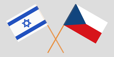 Crossed  flags of Czech Republic and Israel. Official colors. Correct proportion. Vector illustration