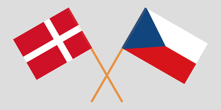 Crossed  flags of Czech Republic and Denmark. Official colors. Correct proportion. Vector illustration Ilustração