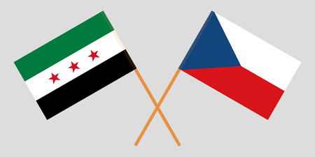 Crossed  flags of Czech Republic and Syria opposition. Official colors. Correct proportion. Vector illustration