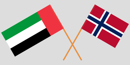 Norway and United Arab Emirates. The Norwegian and UAE flags. Official proportion. Correct colors. Vector illustration Illustration