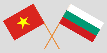 Bulgaria and Vietnam. The Bulgarian and Vietnamese flags. Official colors. Correct proportion. Vector illustration