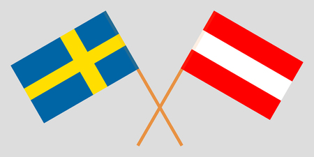 Austria and Sweden. The Austrian and Swedish flags. Official colors. Correct proportion. Vector illustration  イラスト・ベクター素材