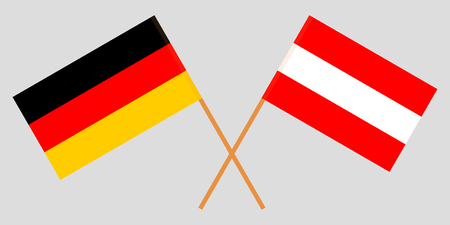 Austria and Germany. The Austrian and German flags. Official colors. Correct proportion. Vector illustration