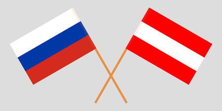 Austria and Russia. The Austrian and Russian flags. Official colors. Correct proportion. Vector illustration