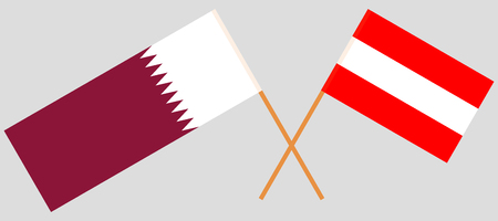 Austria and Qatar. The Austrian and Qatari flags. Official colors. Correct proportion. Vector illustration