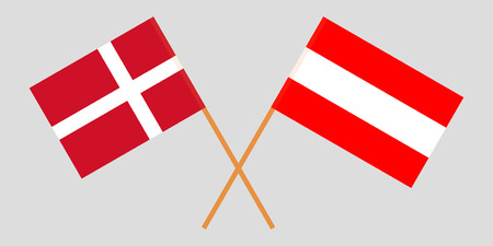 Austria and Denmark. Austrian and Danish flags. Official colors. Correct proportion. Vector illustration