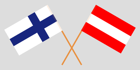Austria and Finland. Austrian and Finnish flags. Official colors. Correct proportion. Vector illustration