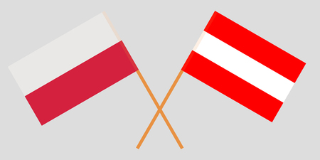Austria and Poland. Austrian and Polish flags. Official colors. Correct proportion. Vector illustration