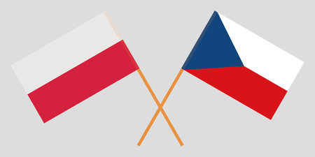 Crossed  flags of Czech Republic and Poland. Official colors. Correct proportion. Vector illustration  イラスト・ベクター素材