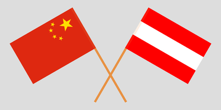 Austria and China. Austrian and Chinese flags. Official colors. Correct proportion. Vector illustration Ilustracja