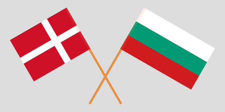 Bulgaria and Denmark. The Bulgarian and Danish flags. Official colors. Correct proportion. Vector illustration