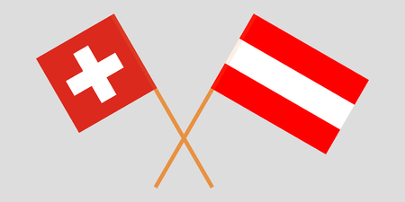 Austria and Switzerland. Austrian and Swiss flags. Official colors. Correct proportion. Vector illustration