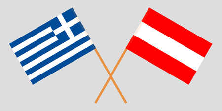 Austria and Greece. Austrian and Greek flags. Official colors. Correct proportion. Vector illustration Illustration