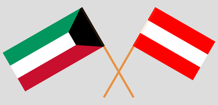 Austria and Kuwait. The Austrian and Kuwaiti flags. Official colors. Correct proportion. Vector illustration Illustration