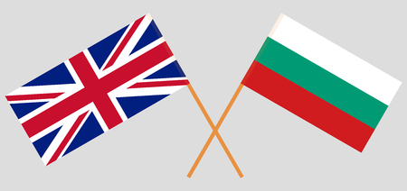 Bulgaria and UK. The Bulgarian and British flags. Official colors. Correct proportion. Vector illustration