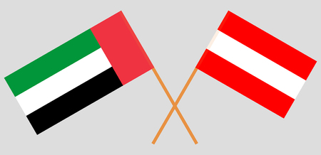 Austria and United Arab Emirates. The Austrian and UAE flags. Official colors. Correct proportion. Vector illustration Illustration