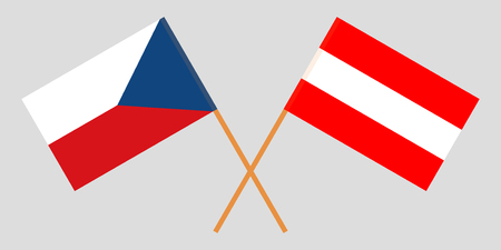 Flags of Austria and Czech. Official colors. Correct proportion. Vector illustration