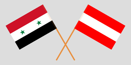 Austria and Syria. The Austrian and Syrian flags. Official colors. Correct proportion. Vector illustration Ilustrace