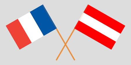Austria and France. The Austrian and French flags. Official colors. Correct proportion. Vector illustration