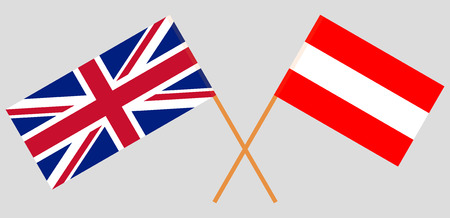 Austria and UK. Austrian and British flags. Official colors. Correct proportion. Vector illustration