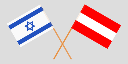 Austria and Israel. The Austrian and Israeli flags. Official colors. Correct proportion. Vector illustration Ilustração