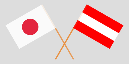 Austria and Japan. The Austrian and Japanese flags. Official colors. Correct proportion. Vector illustration