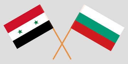 Bulgarie et Syrie. Les drapeaux bulgare et syrien. Couleurs officielles. Proportion correcte. Illustration vectorielle Vecteurs