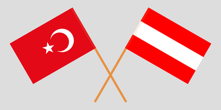 Austria and Turkey. The Austrian and Turkish flags. Official colors. Correct proportion. Vector illustration