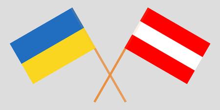 Austria and Ukraine. The Austrian and Ukrainian flags. Official colors. Correct proportion. Vector illustration Illustration