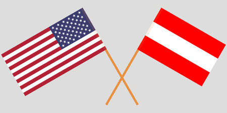 Austria and USA. The Austrian and American flags. Official colors. Correct proportion. Vector illustration