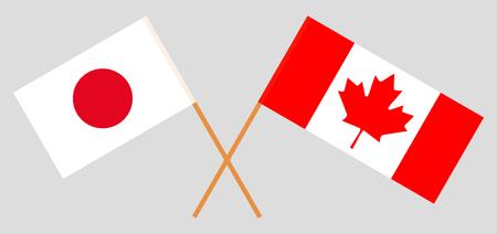 Japan und Kanada. Die japanischen und kanadischen Flaggen. Offizielle Farben. Richtiges Verhältnis. Vektor-Illustration