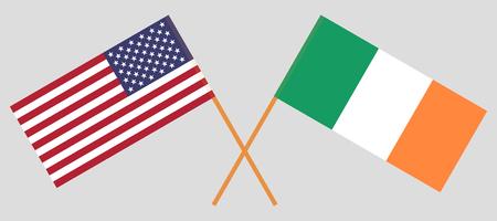 États-Unis et Irlande. Les drapeaux américain et irlandais. Couleurs officielles. Proportion correcte. Illustration vectorielle