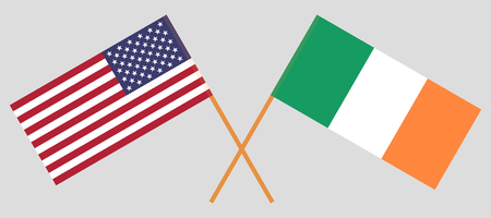 USA and Ireland. The American and Irish flags. Official colors. Correct proportion. Vector illustration