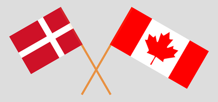 Denmark and Canada. The Danish and Canadian flags. Official colors. Correct proportion. Vector illustration