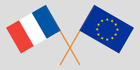 France and EU. The French and European Union flags. Official colors. Correct proportion. Vector illustration