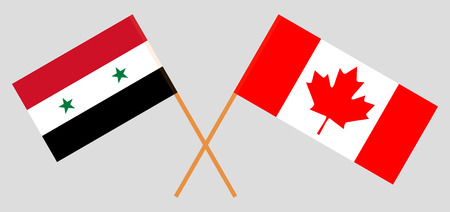 Syria and Canada. The Syrian and Canadian flags. Official colors. Correct proportion. Vector illustration