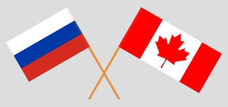 Russia and Canada. The Russian and Canadian flags. Official colors. Correct proportion. Vector illustration