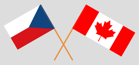 Flags of Czech Republic and Canada. Official colors. Correct proportion. Vector illustration