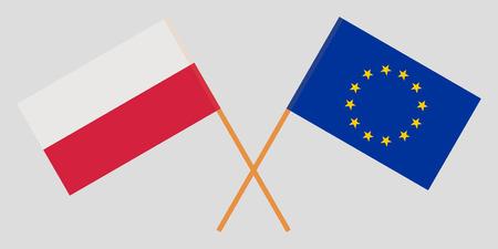 Poland and EU. The Polish and European Union flags. Official colors. Correct proportion. Vector illustration Vektoros illusztráció