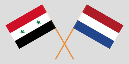 Netherlands and Syria. The Netherlandish and Syrian flags. Official proportion. Correct colors. Vector illustration Ilustrace